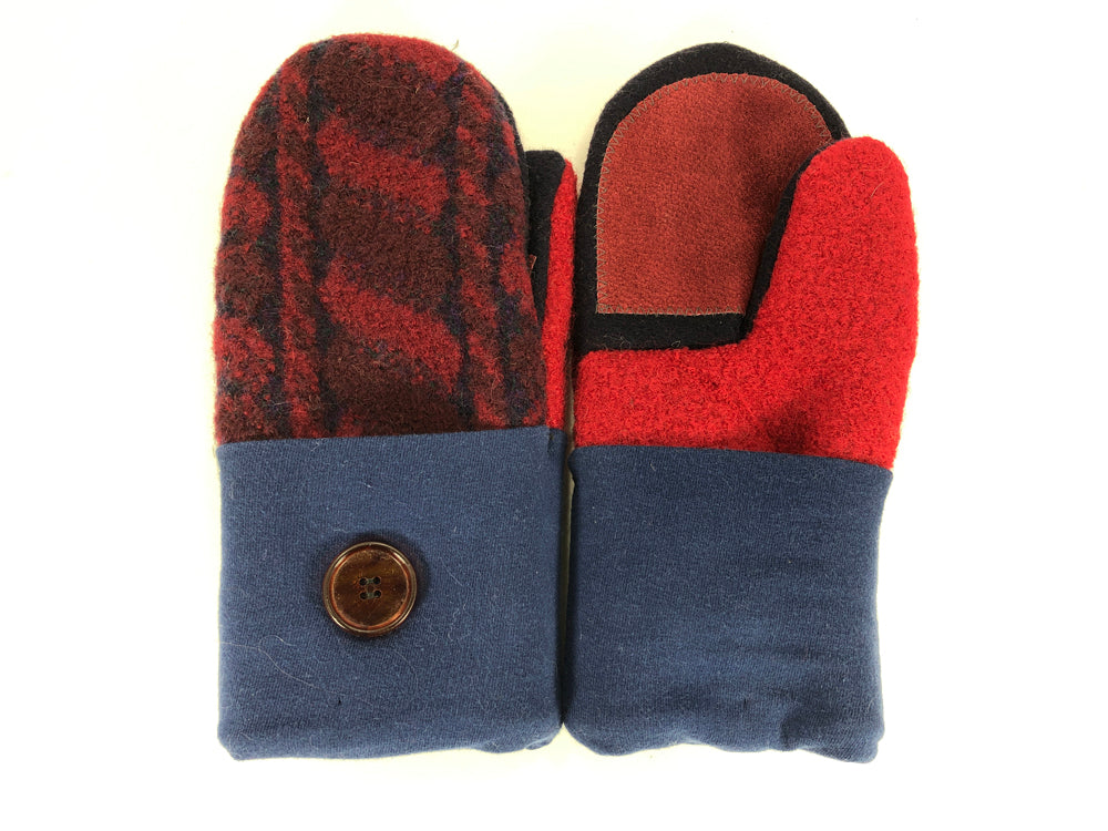 Red-Blue-Black Boiled Wool Women's Driver's Mittens - Medium - 2159-Womens-The Mitten Company