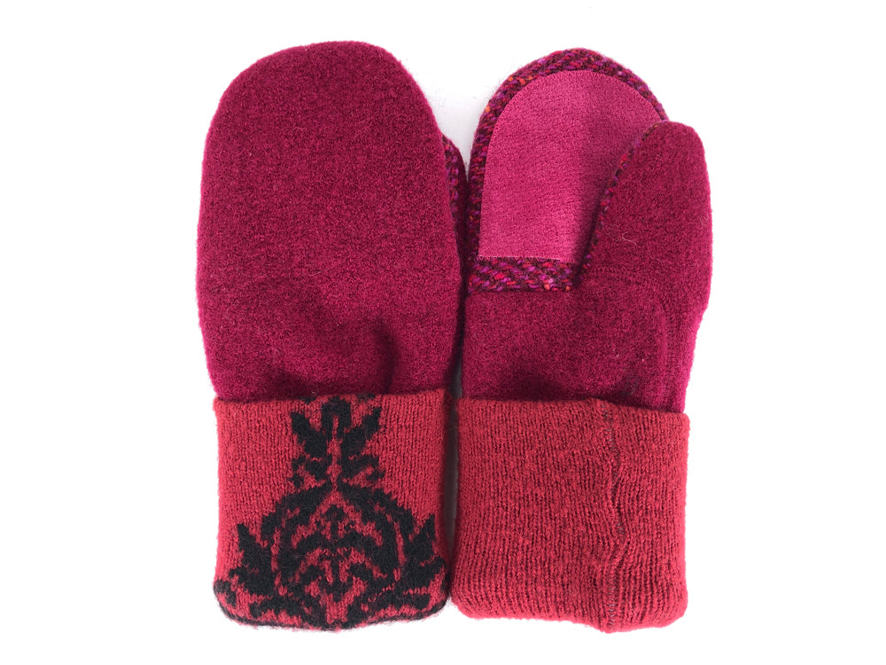 Red-Black Boiled Wool Women's Driver's Mittens - Medium - 2161-Womens-The Mitten Company