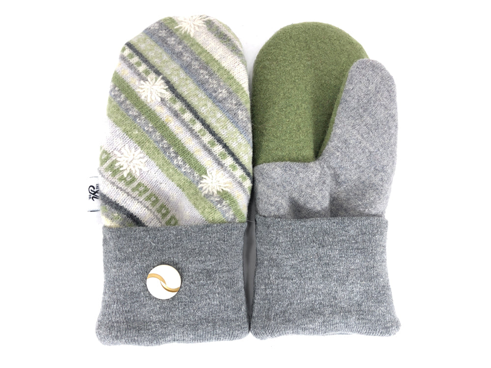 Green-Tan Merino Wool Women's Mittens - Medium - 2173