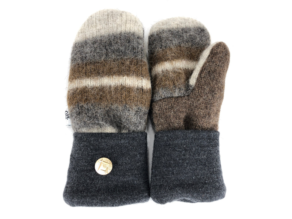 Gray-Brown-Tan Shetland Wool Women's Mittens - Small - 2175