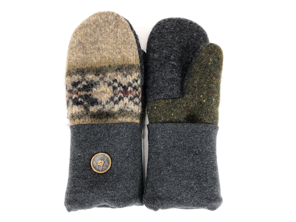 Green-Gray-Tan Shetland Wool Women's Mittens - Small - 2179