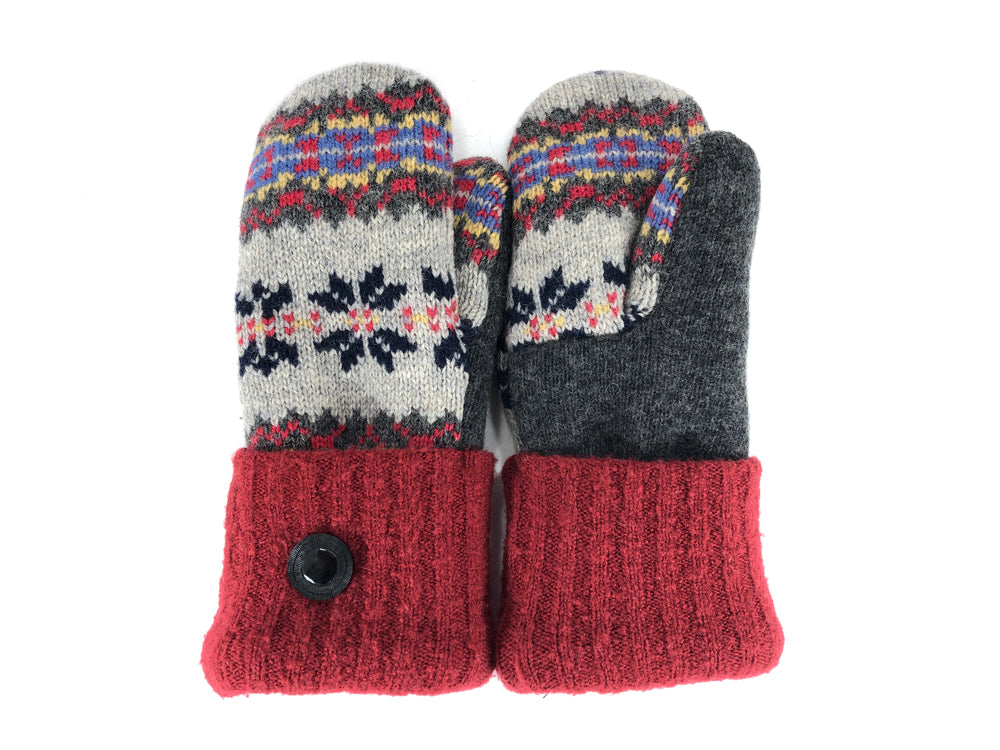 Red-Gray-Blue Lambs Wool Women's Mittens - Small - 2201