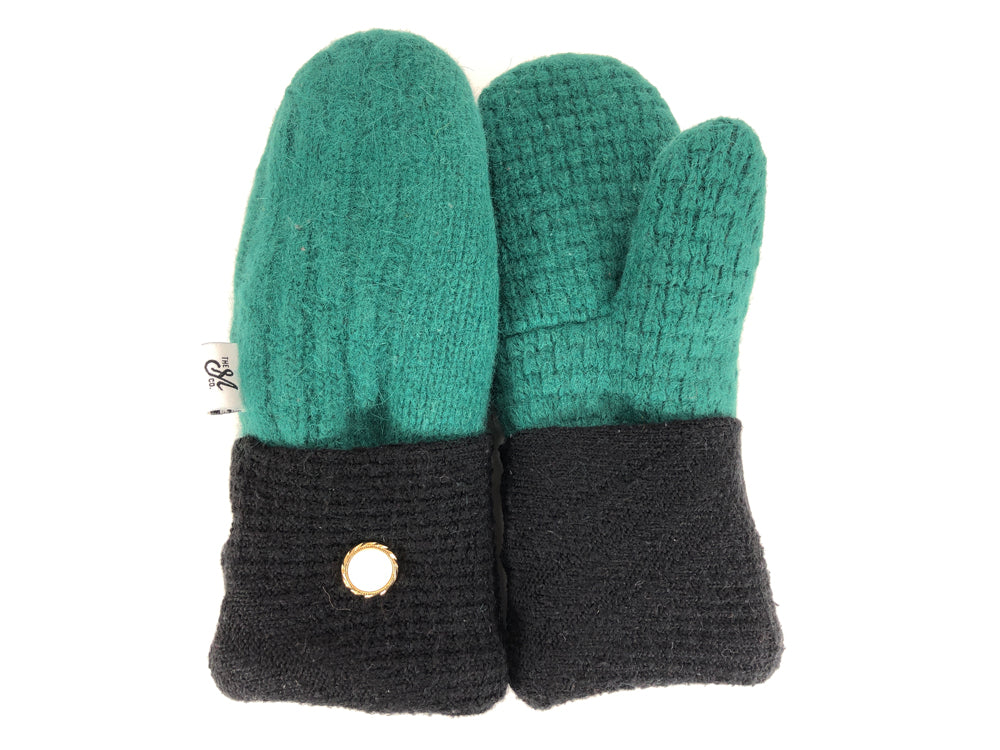 Green-Black Lambs Wool Women's Mittens - Small - 2203