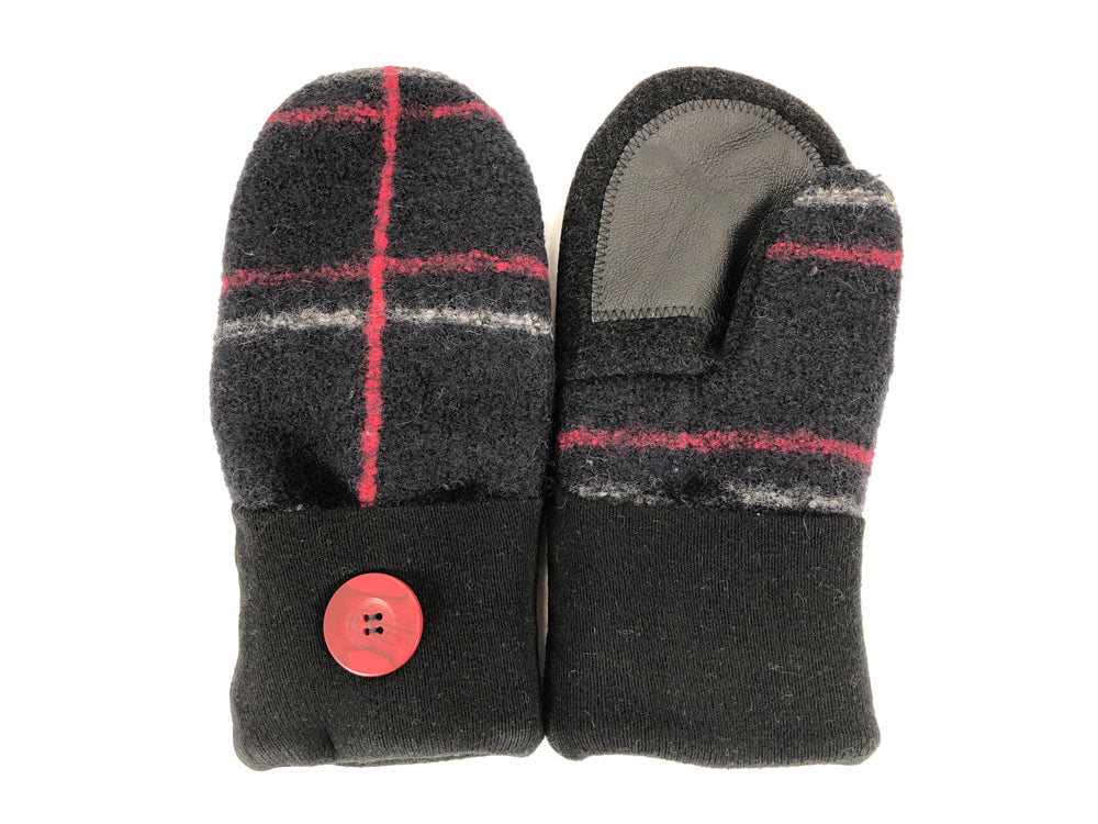 Black-Red-Gray Lambs Wool Women's Drivers Mittens - Medium - 2211 - The Mitten Company