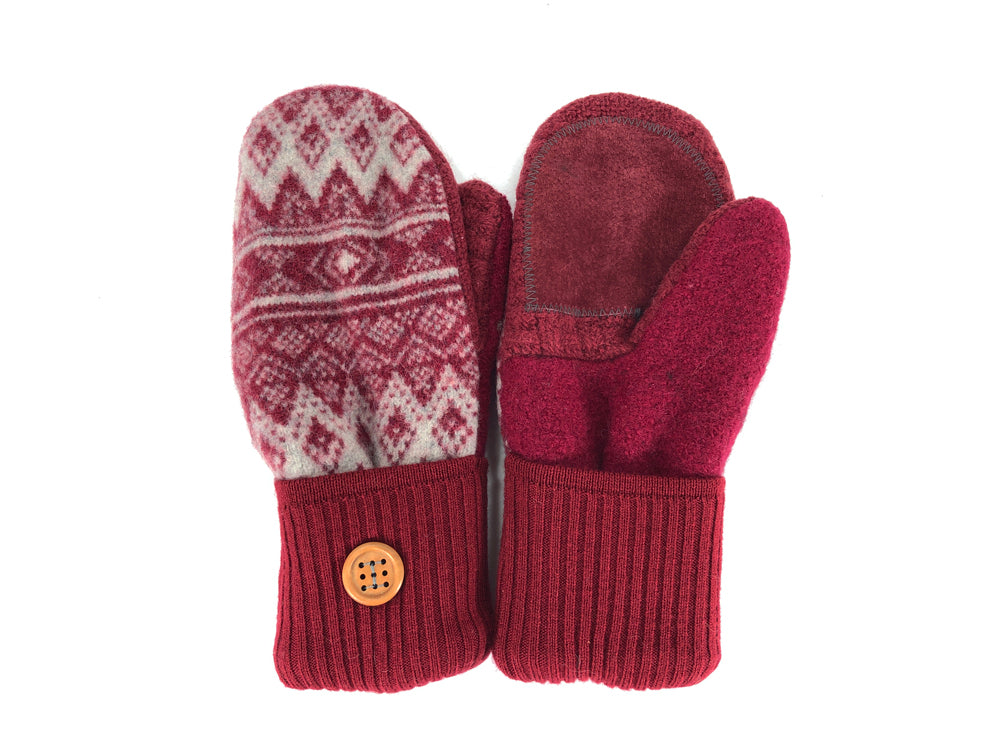 Red-Gray Merino Wool Women's Driver's Mittens - Medium - 2213
