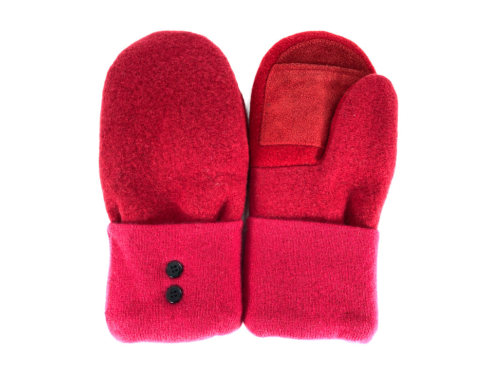 Red-Pink Merino Wool Women's Driver's Mittens - Medium - 2214