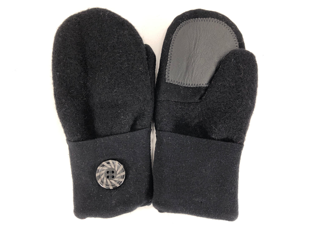Black Merino Wool Women's Driver's Mittens - Medium - 2218-Womens-The Mitten Company