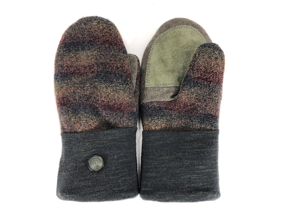 Green-Brown Merino Wool Women's Driver's Mittens - Medium - 2221