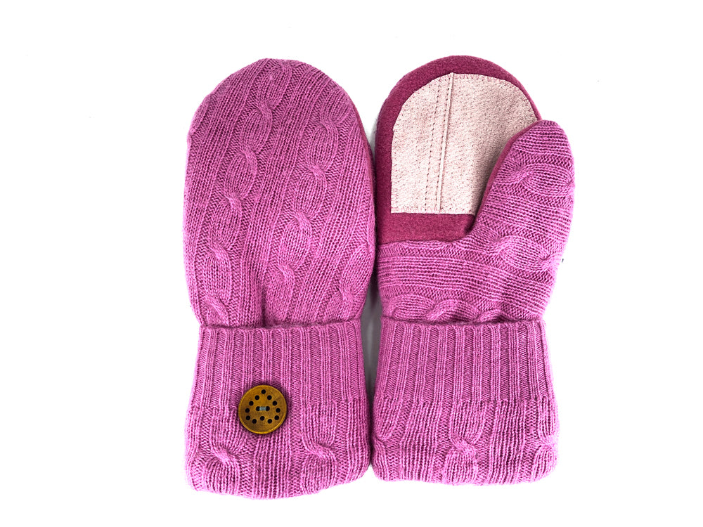 Pink Lambs Wool Women's Drivers Mittens - Medium - 2226