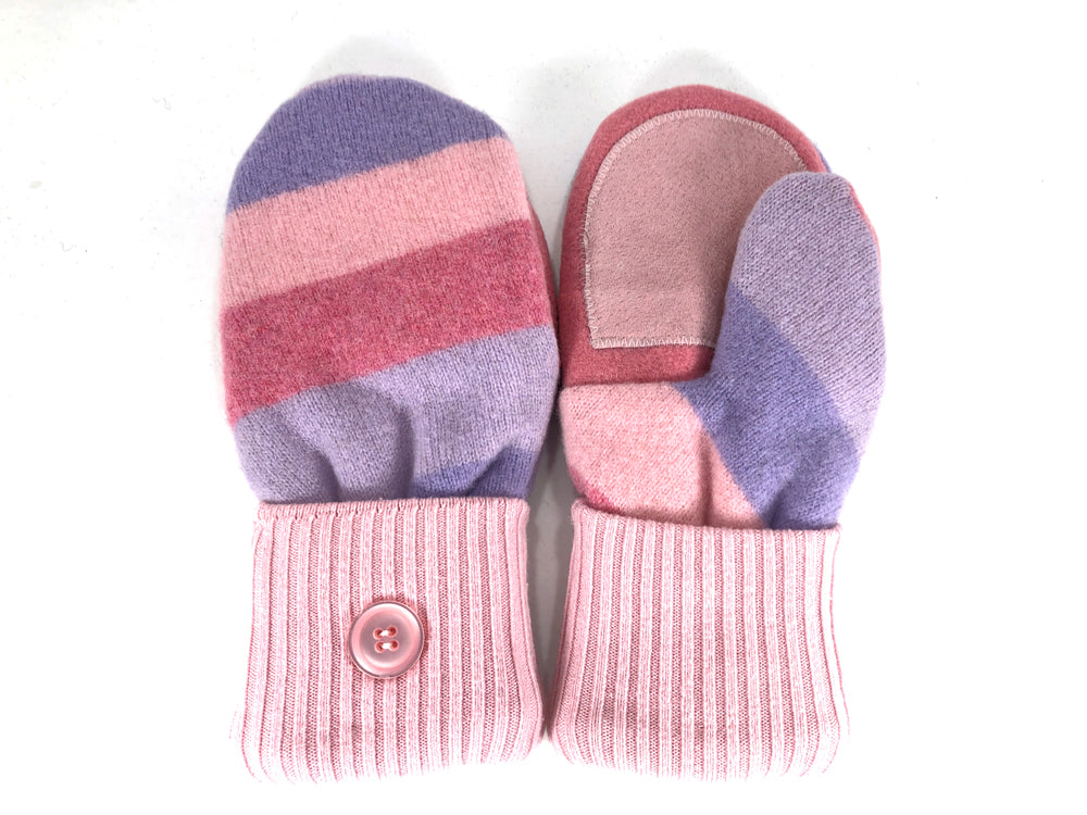 Pink-Blue Lambs Wool Women's Drivers Mittens - Medium - 2227-Womens-The Mitten Company