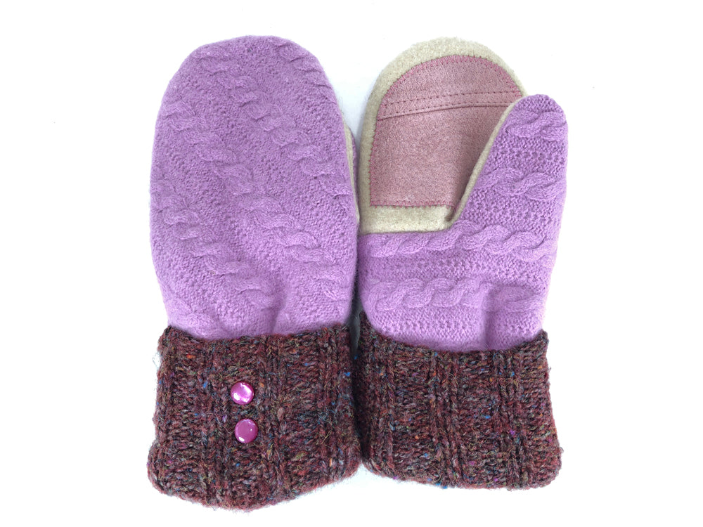 Purple-Brown-White Lambs Wool Women's Drivers Mittens - Medium - 2228