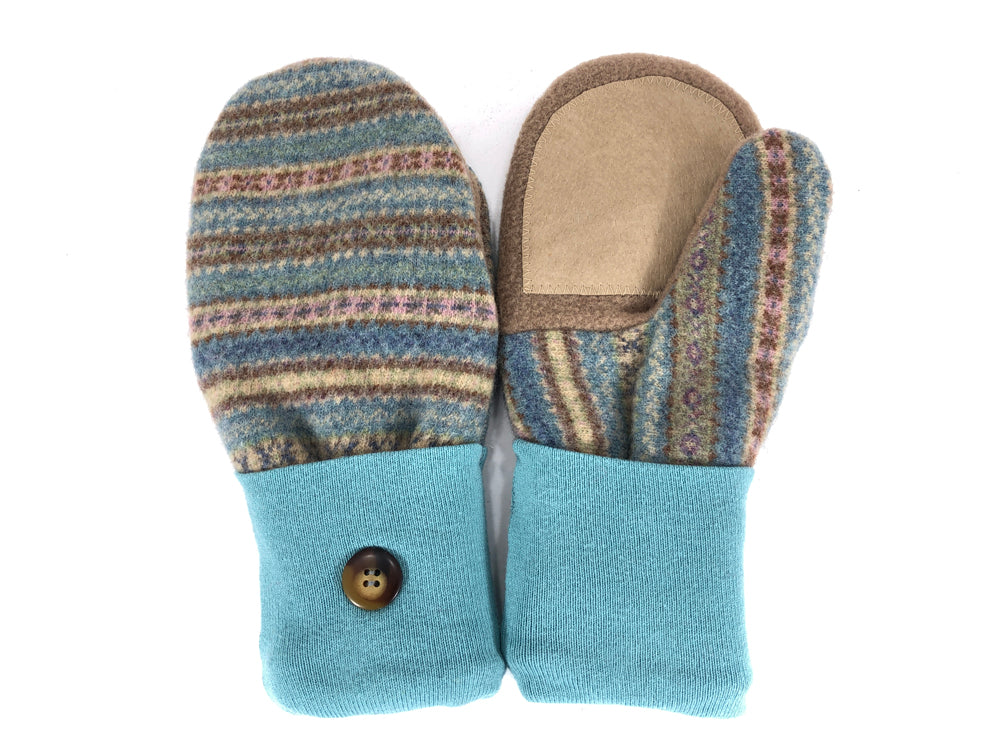 Blue-Brown-Tan Lambs Wool Women's Drivers Mittens - Medium - 2230 - The Mitten Company