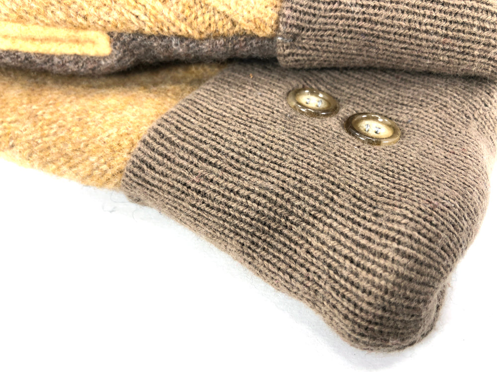 Beige-Yellow-Brown Lambs Wool Women's Drivers Mittens - Medium - 2232 - The Mitten Company