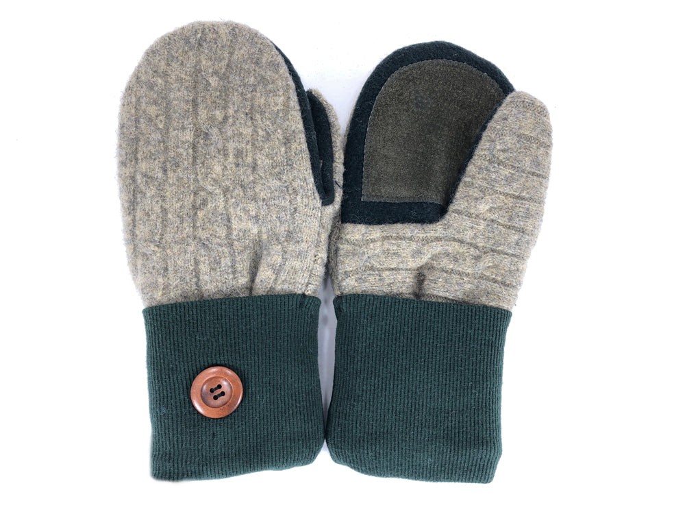 Green-Tan-Brown Lambs Wool Women's Drivers Mittens - Medium - 2234