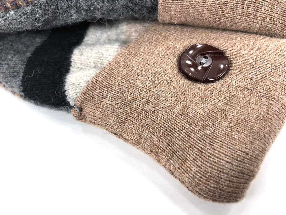 Beige-Gray-Brown Lambs Wool Women's Drivers Mittens - Medium - 2235 - The Mitten Company