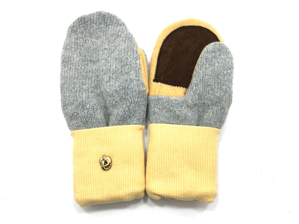 Gray-Yellow-Brown Lambs Wool Women's Drivers Mittens - Medium - 2236