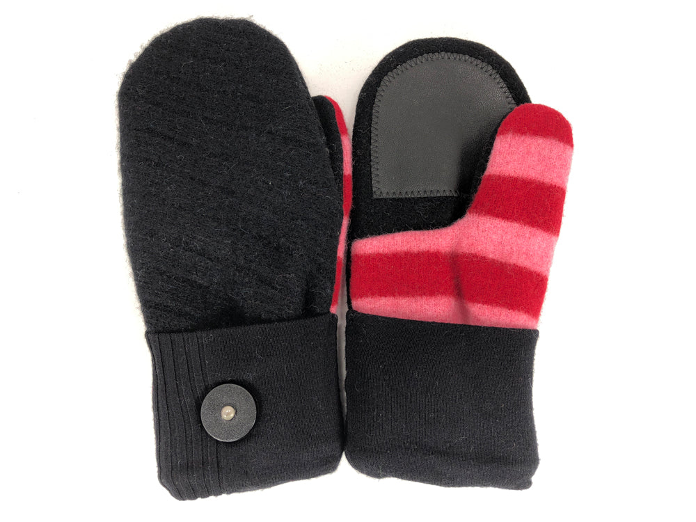 Black-Pink-Red Lambs Wool Women's Drivers Mittens - Medium - 2237 - The Mitten Company