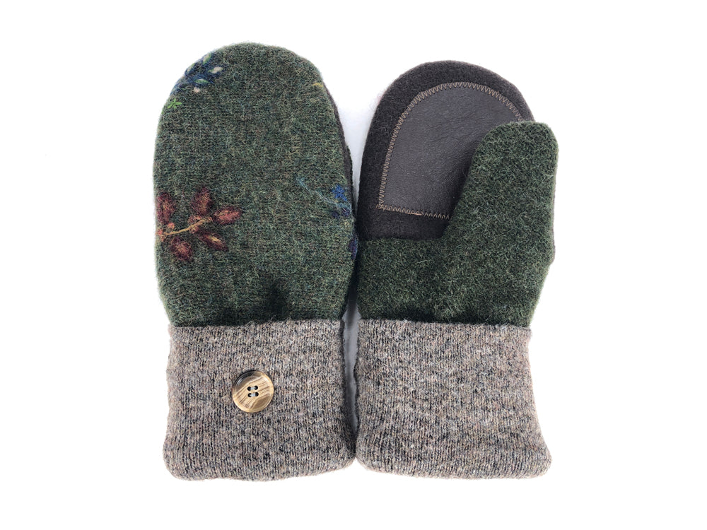 Green-Brown-Tan Lambs Wool Women's Drivers Mittens - Medium - 2244