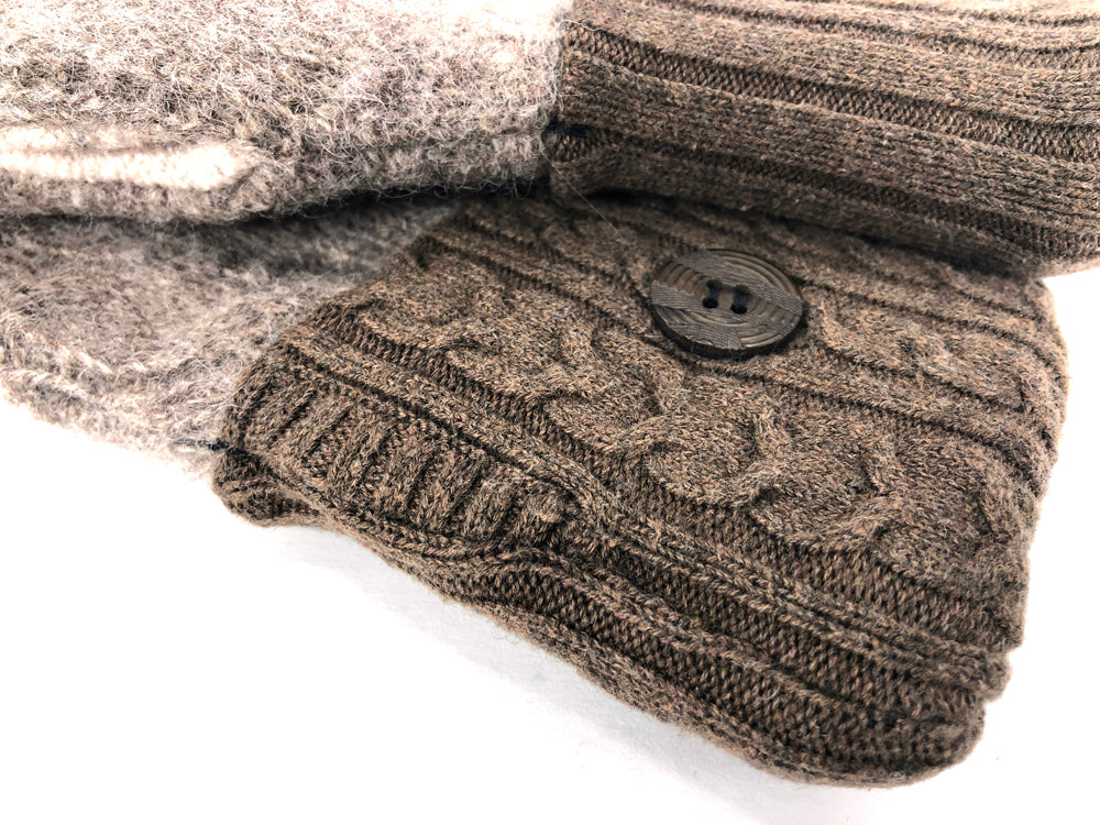 Beige-Brown-Black Lambs Wool Women's Drivers Mittens - Medium - 2246 - The Mitten Company