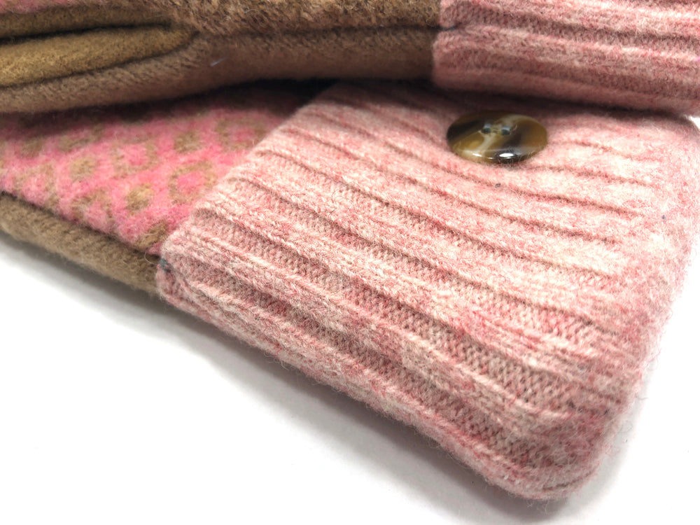Pink-Brown Lambs Wool Women's Drivers Mittens - Medium - 2250