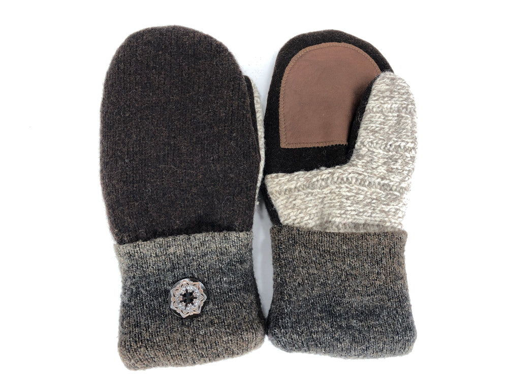 Brown-Tan Shetland Wool Women's Drivers Mittens - Medium - 2257