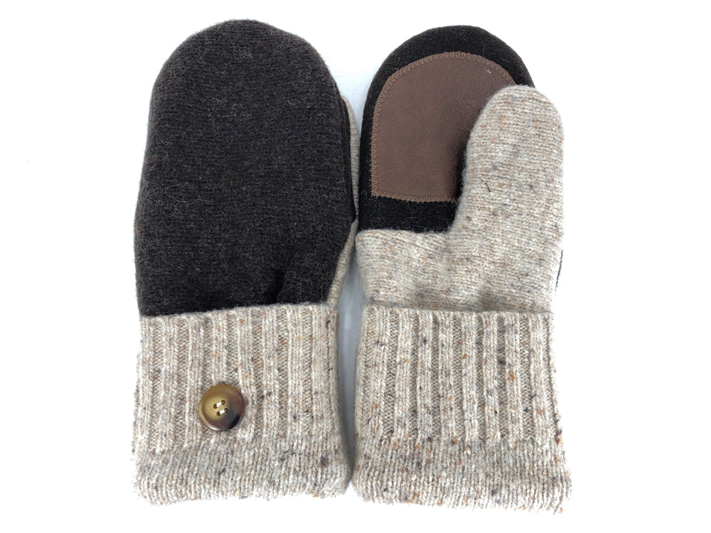 Brown-Tan Shetland Wool Women's Drivers Mittens - Medium - 2258