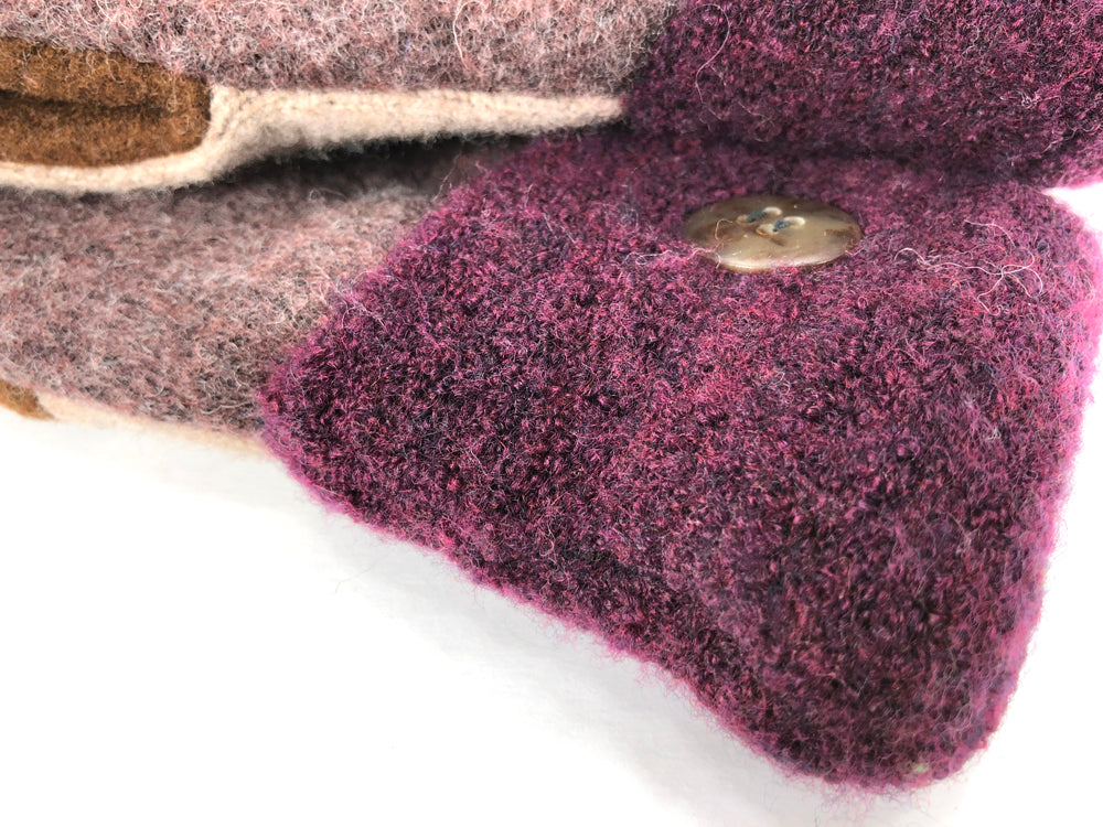 Burgundy-Brown Shetland Wool Women's Drivers Mittens - Medium - 2259