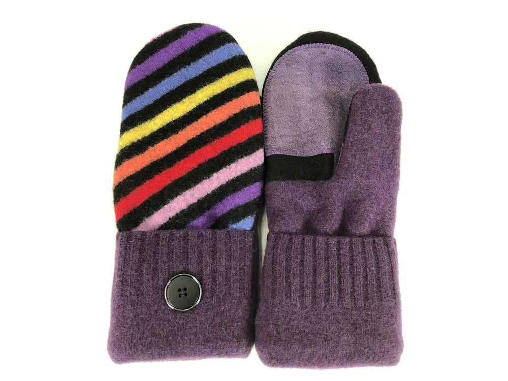 Purple-Black-Red Shetland Wool Women's Drivers Mittens - Medium - 2260-Womens-The Mitten Company