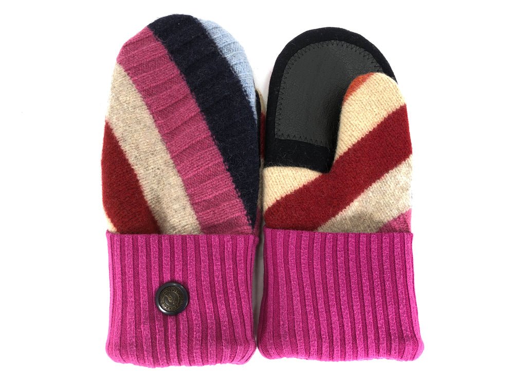 Pink-Blue-Red Shetland Wool Women's Drivers Mittens - Medium - 2261