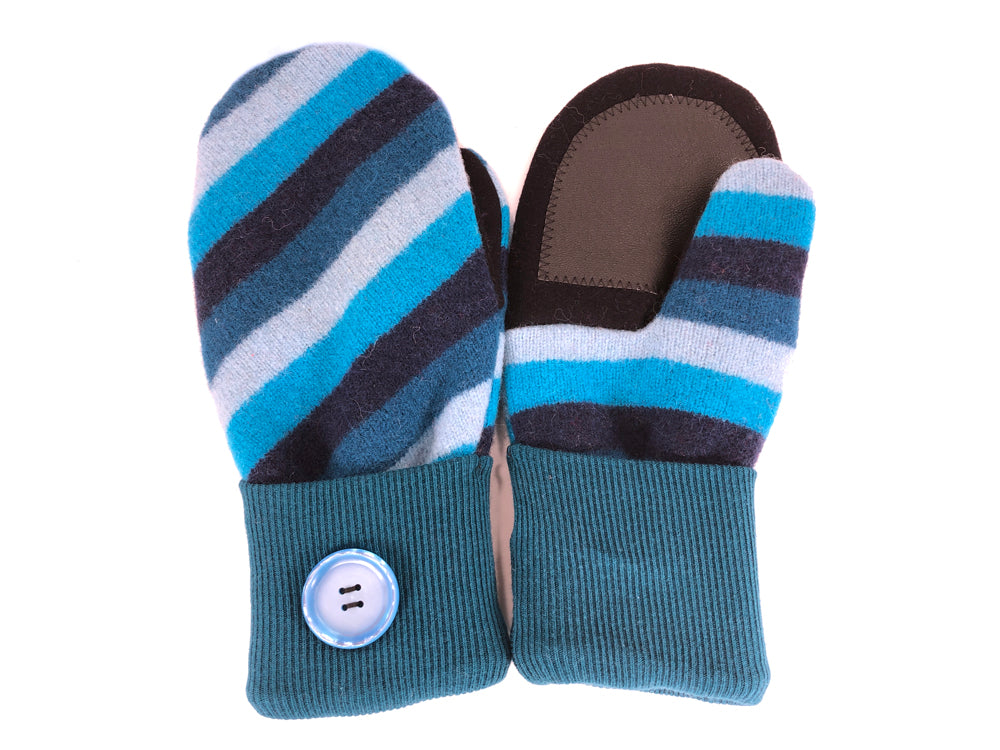 Blue-Black Lambs Wool Women's Drivers Mittens - Medium - 2263-Womens-The Mitten Company