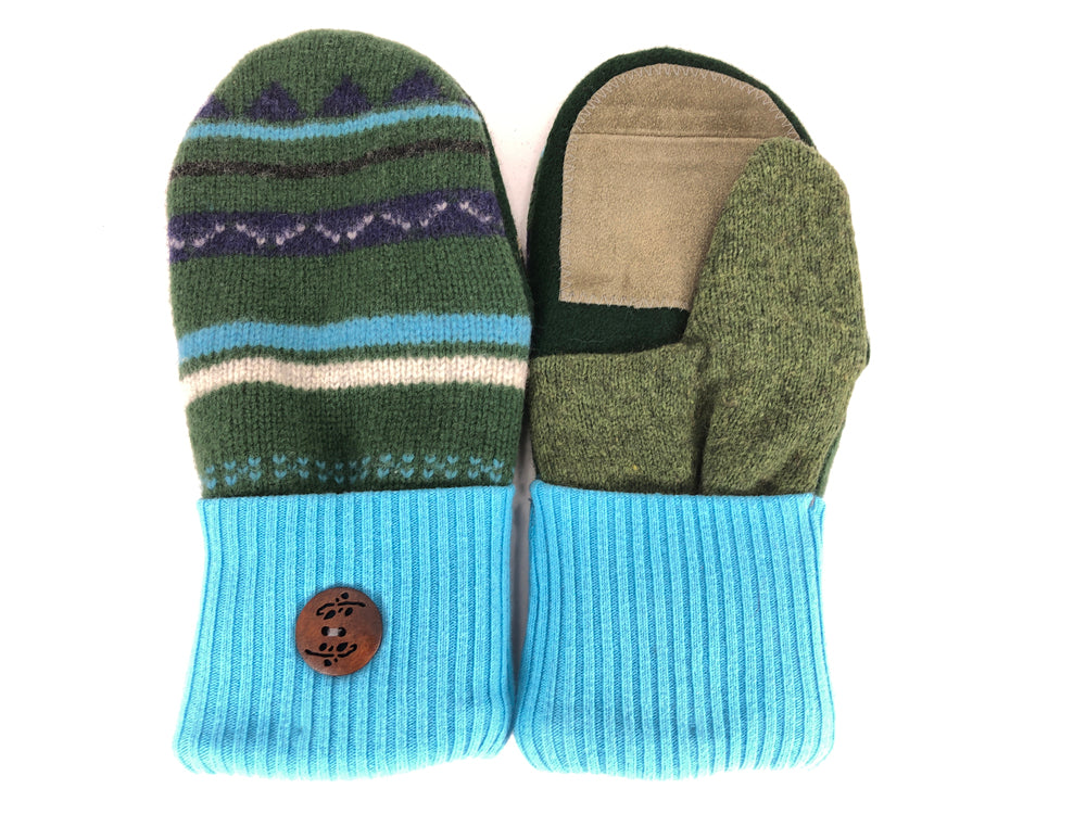 Blue-Green-Purple Lambs Wool Women's Drivers Mittens - Medium - 2266