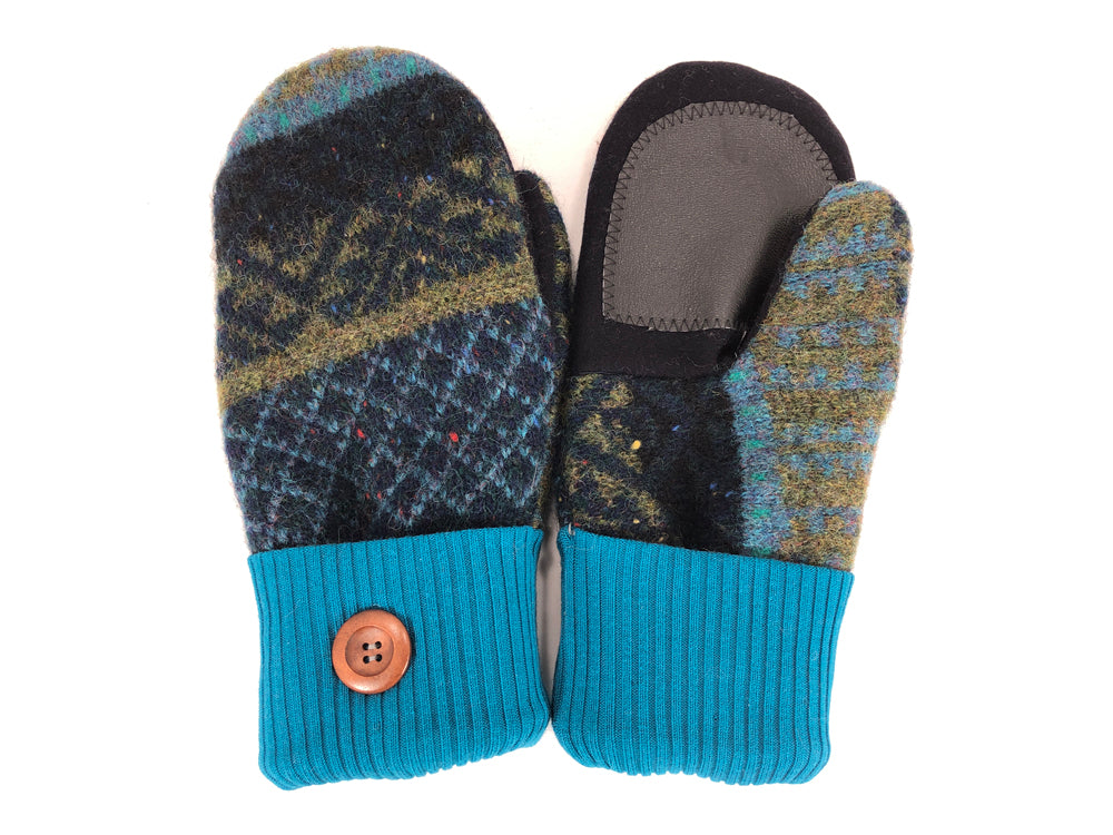 Blue-Black-Green Lambs Wool Women's Drivers Mittens - Medium - 2267