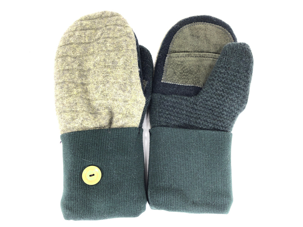 Green Lambs Wool Women's Drivers Mittens - Medium - 2268