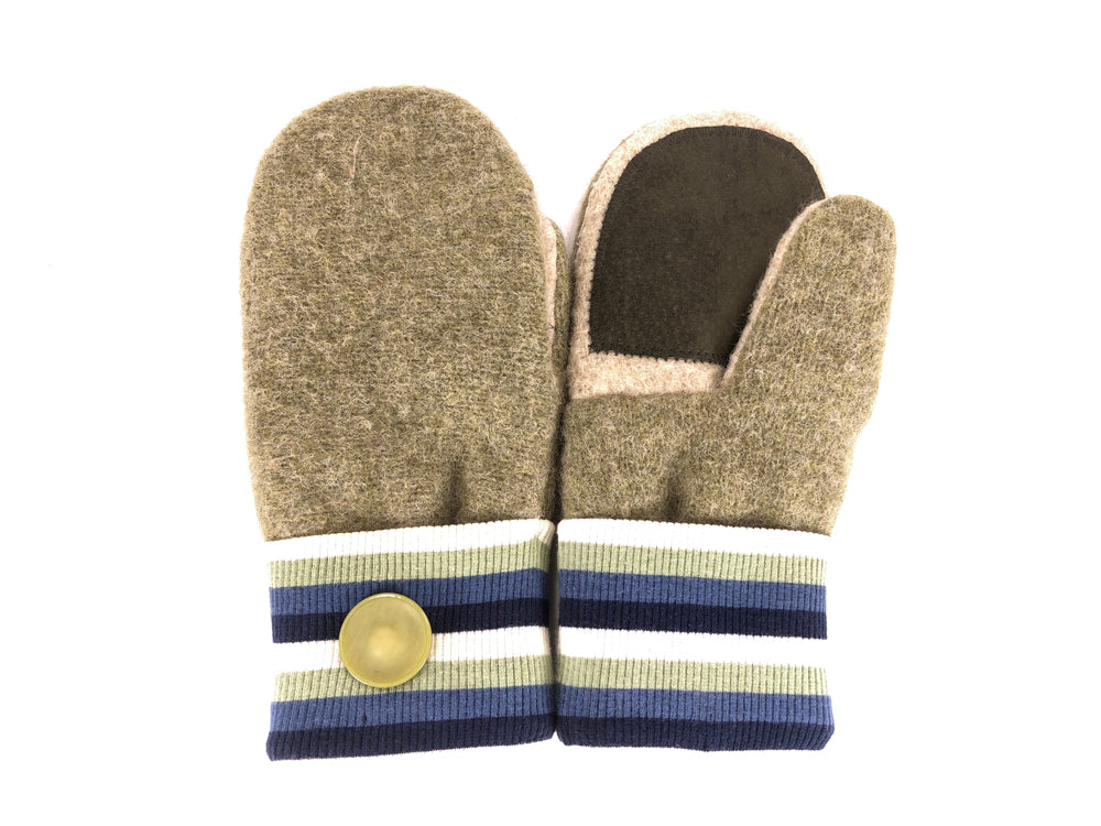 Green-Blue-White Lambs Wool Women's Drivers Mittens - Medium - 2269