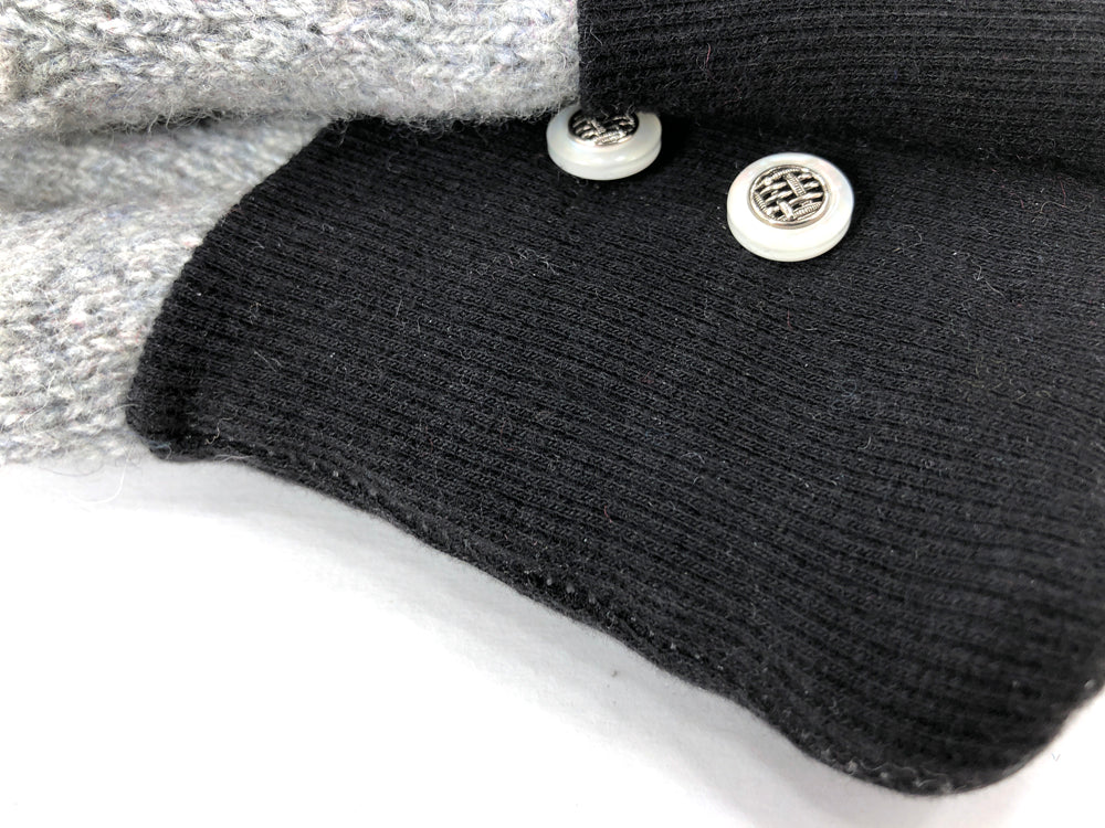 Black-Gray Lambs Wool Women's Drivers Mittens - Medium - 2270