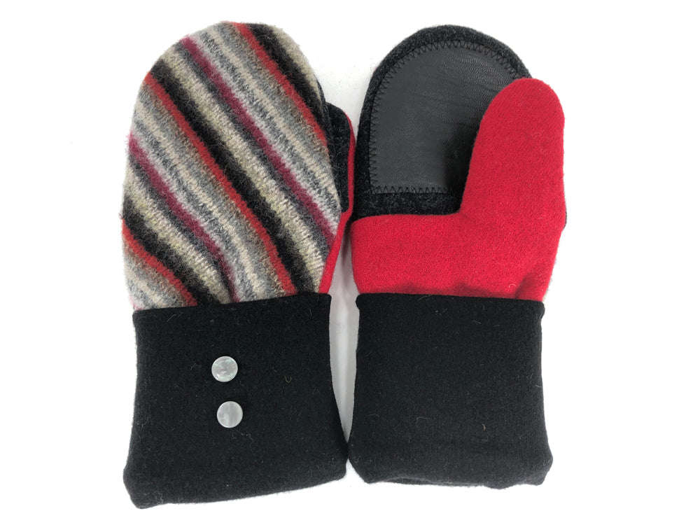 Black-Red-Gray Lambs Wool Women's Drivers Mittens - Medium - 2271
