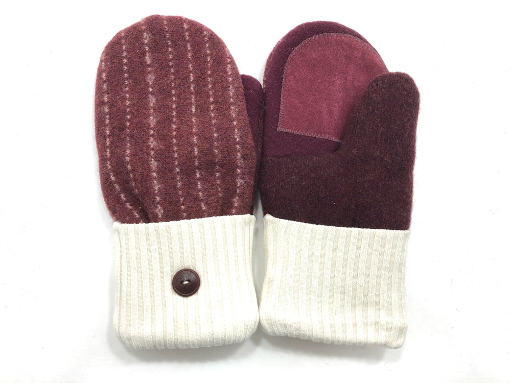 Rust-White Lambs Wool Women's Drivers Mittens - Medium - 2272