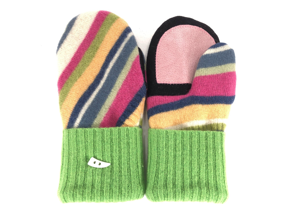 Green-Gold-Blue Lambs Wool Women's Drivers Mittens - Medium - 2273