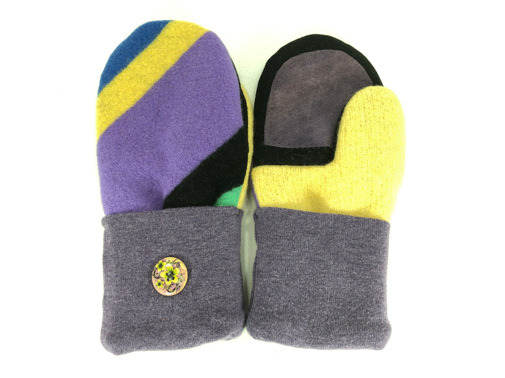 Purple-Black-Yellow Lambs Wool Women's Drivers Mittens - Medium - 2274