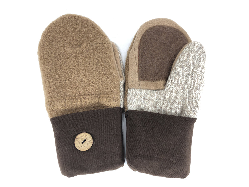 Brown-Tan Shetland Wool Women's Drivers Mittens - Medium - 2276