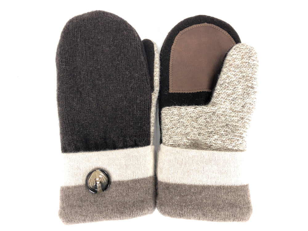 Brown-Tan Shetland Wool Women's Drivers Mittens - Medium - 2277
