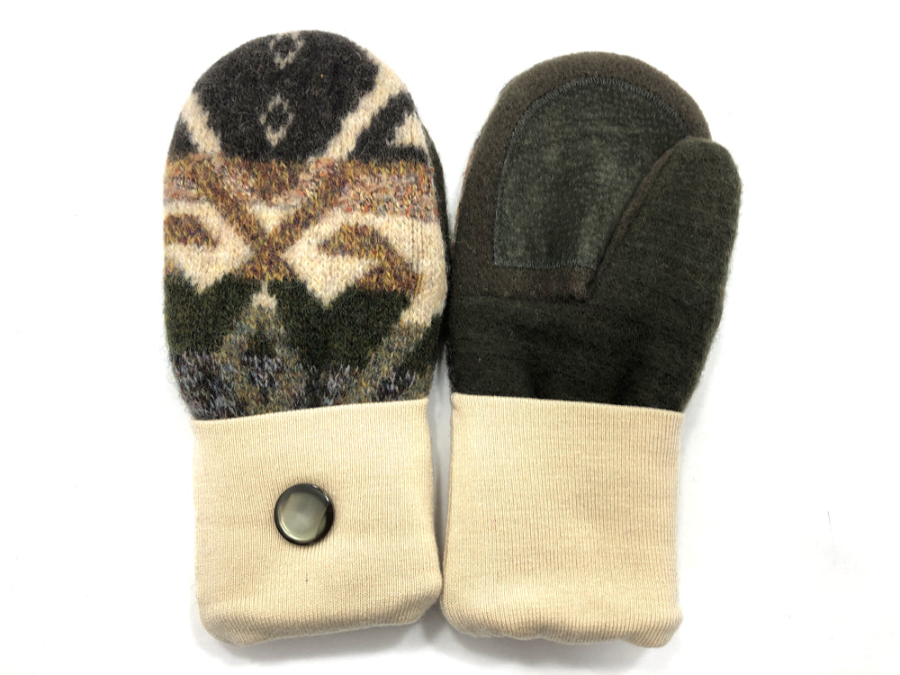 Tan-Brown-Green Shetland Wool Women's Drivers Mittens - Medium - 2278