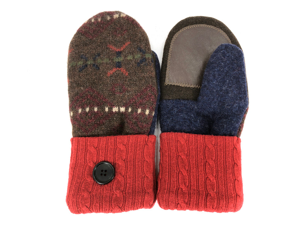Red-Brown-Blue Shetland Wool Women's Drivers Mittens - Medium - 2279-Womens-The Mitten Company