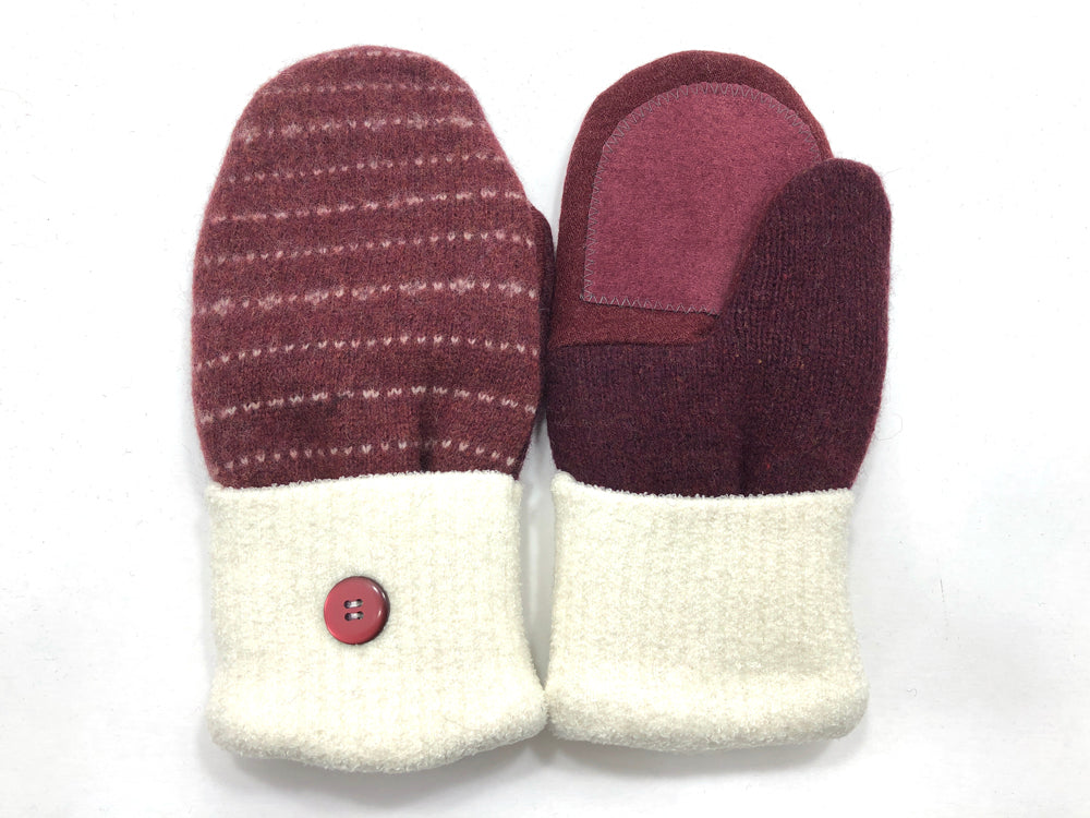 Rust-White Lambs Wool Women's Drivers Mittens - Medium - 2280