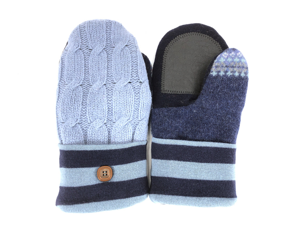 Blue-Black Shetland Wool Women's Drivers Mittens - Medium - 2281