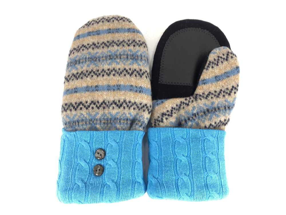 Blue-Beige-Black Shetland Wool Women's Drivers Mittens - Medium - 2283