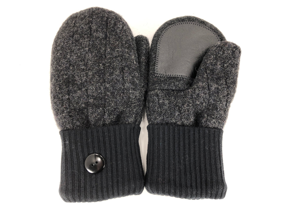 Black-Gray Shetland Wool Women's Drivers Mittens - Medium - 2286