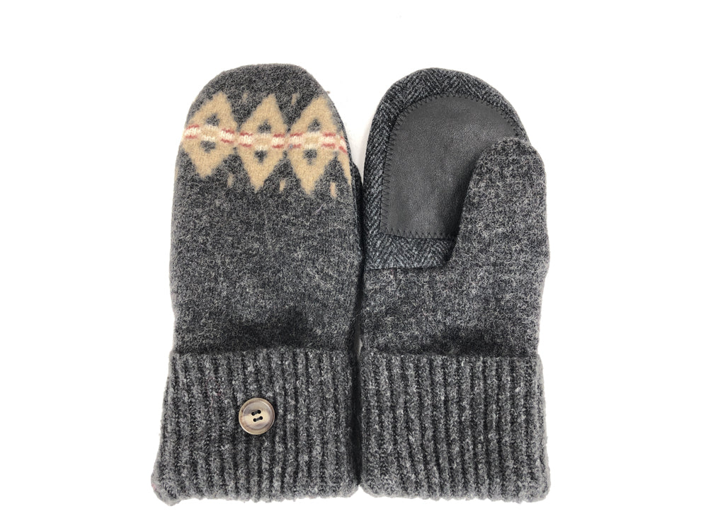 Gray-Tan Boiled Wool Women's Drivers Mittens - Large - 2287