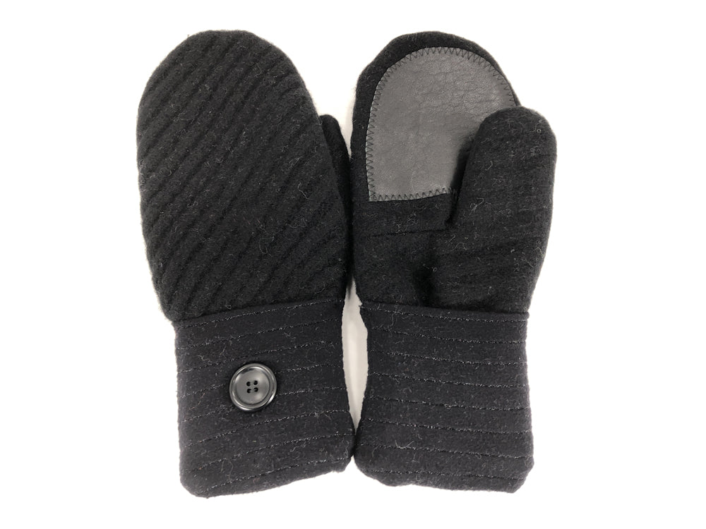 Black Boiled Wool Women's Drivers Mittens - Large - 2289