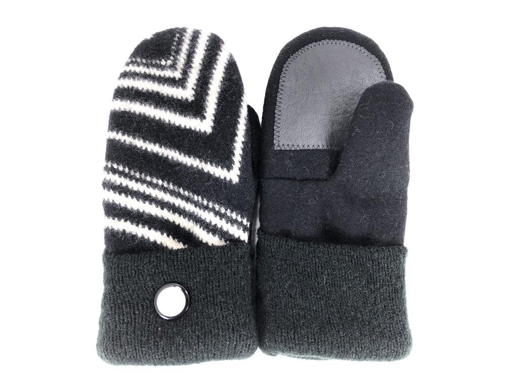 Black-White-Green Boiled Wool Women's Drivers Mittens - Large - 2290